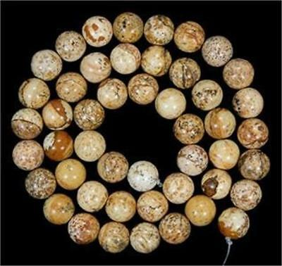 Natural 8mm round Chinese Picture stone gems loose beads 15inch##QF1323