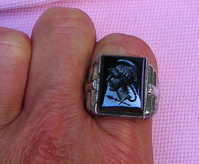 Vintage Antique Art Deco Sterling Silver Black Onyx Glass Intaglio Man Ring sz 8