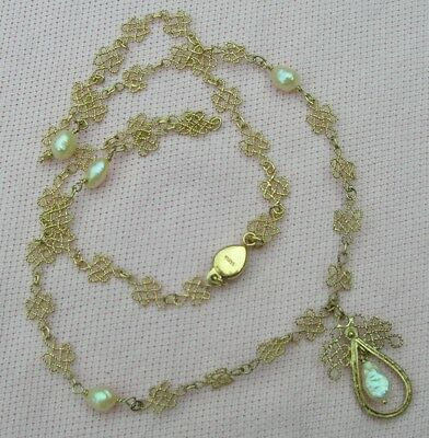 Vintage ANTIQUE CHINESE Gilt Silver Filigree Freshwater Pearl Lavaliere Necklace