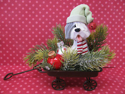 Handsculpted Old English Sheepdog in Christmas Wagon Figurine