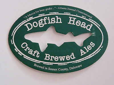 Beer Coaster ~ DOGFISH HEAD Craft Brewed Ales ~ Fish Shaped ~ DELAWARE Brewery