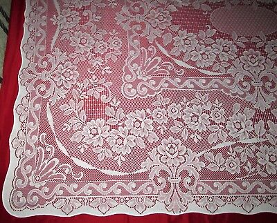 "Antique Vintage? Ecru Net Needlework Lace Tablecloth Floral Design 80"" x 64"""