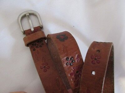"Kids Western Tooled Leather Belt, size 22"" Waist  @ CENTER HOLE ~~~~lot # 22"