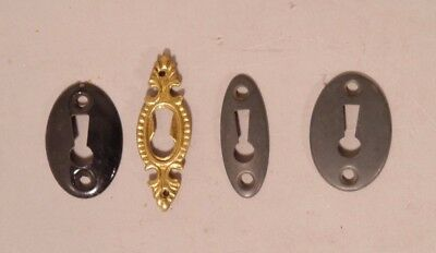 Lot Of Four Assorted Antique Brass Escutcheon Key Whole Covers
