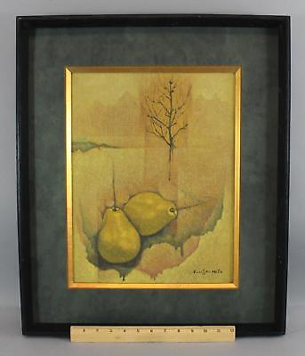 Vintage COUZOU MIO Mid-Century Japanese Modernist Surreal Stillife Oil Painting
