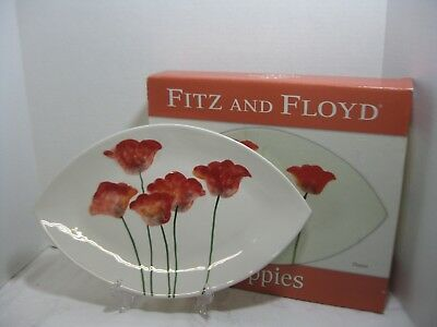 "Fitz & Floyd Poppies Platter  16"" X 10"" Retired New in Box"