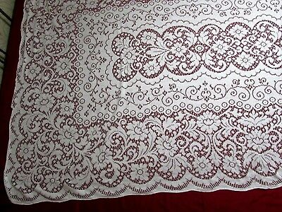"Antique Vintage? Ecru Needlework Lace Tablecloth Floral Design Large 100"" x 60"""
