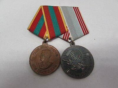 Post WWII Russian 2-medal bar 1-unknown, 1-Veteran of Labor medal.   MK70