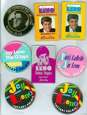 8 Vintage 80s-90s Jay Leno Casino Headliners Advertising Pinback Buttons