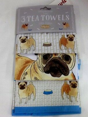 Set of 3 Milly Green Debonair Dogs 100% Cotton Tea Towels NWT PUGS 100% Cotton