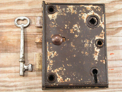 Beveled Victorian Door Rim Lock w Skeleton Key & Brass Bolts