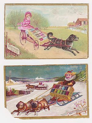 Rare 2 J&p Coats' Six Cord Thread Wagon & Sled Pulled Dogs Victorian Trade Card