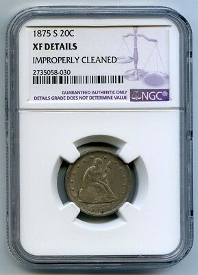 1875-S 20 Cent Piece NGC XF Details Cleaned  - 20¢ Piece - Extra FIne