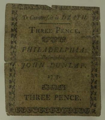 Antique Paper US COLONIAL Currency THREE PENCE 1777 Philadelphia PA John Dunlap