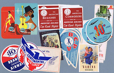 Nice lot of 27 Original Vintage airline travel Luggage Labels    2211