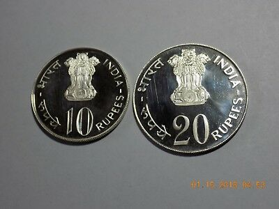 1973 India Silver Proof 10 Rupees & Proof 20 Rupees - GROW MORE FOOD