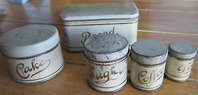 American made Children's Canister set Antique Creme/Gold Miniature Bread Box+