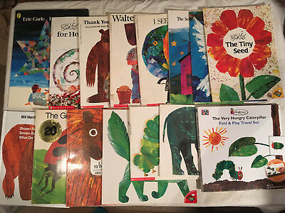 Lot ERIC CARLE Hermit FOLD AND PLAY SET Brown Bear LADYBUG Birthday SEED lot of