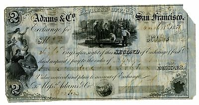 Adams & Co. 1853 $162, 2nd Exchange Certificate, Fine-VF condition