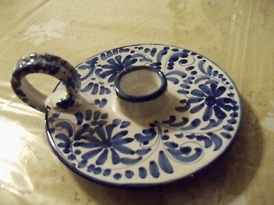 Vintage Italy Candle Holder Drip TrayFlowers Blue and White  Numbered 5655SB