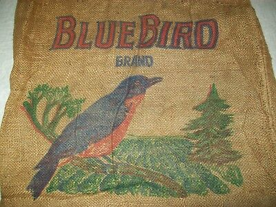 Vintage Burlap Potato Sack Blue Bird Wisconsin 100 Lb.