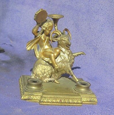 Antique Inkwell Stand Figural Cherub Riding Goat Quill Holder French Bronze