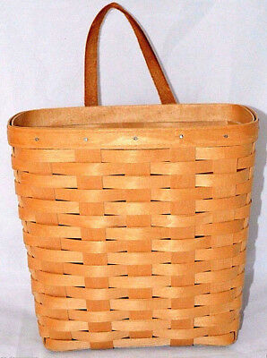 "Longaberger Honey Wall Basket Vintage 1994 leather strap 9 3/4"" tall Retired HTF"