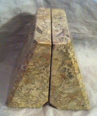 Vintage Pair of Beautiful HEAVY Angular Wedge Shaped Polished GRANITE Bookends