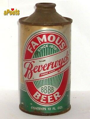 1940 Irtp Famous Beverwyck Beer Can New York Cone Top Albany,ny Low Profile Gold