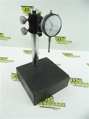 "Mitutoyo 999-390 Dial Indicator .001"" Grads + Granite Base Inspection Stand"