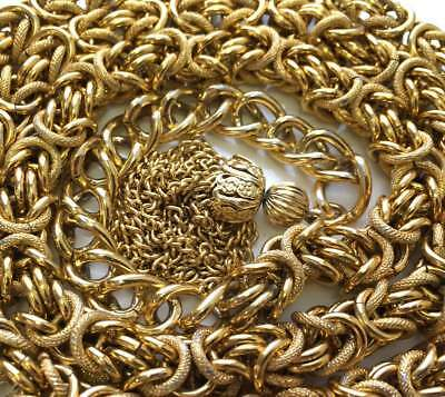 Vintage Unique Link Gold tone Chain LONG WIDE NICE Jewelry lot a