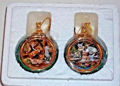 BRADFORD EDITION PLAYFUL KITTENS 1st & 2nd EDITION ORNAMENTS SET OF 2  New