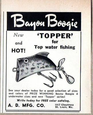 1957 Print Ad Bayou Boogie Topper Fishing Lures A.D. Mfg St Louis,MO