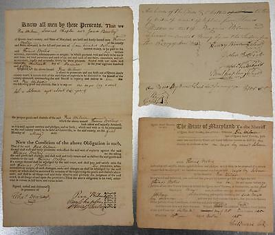 Lot of 3 1815 Queen Ann Maryland Slave Documents Theft of 6 Year Old Negro Boy