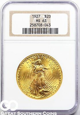 1927 Double Eagle, $20 St. Gaudens NGC MS 63 * Brilliant Mint Luster,  Free S/H!