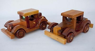 """Pair Of Wood Toy Cars Hand Crafted By """"lou"""""""