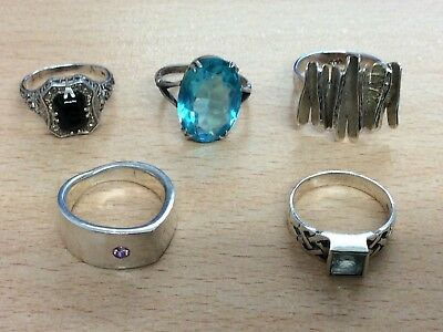 JOB LOT OF 5 SOLID SILVER RINGS 26.7g
