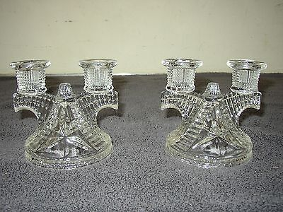 SET OF 2 Vintage Clear Glass Candle Stick Holder