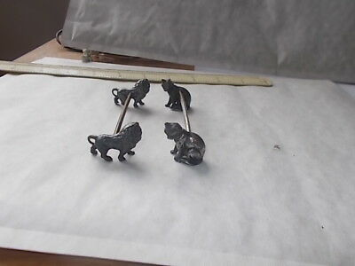 ATTRACTIVE PAIR OF VINTAGE SILVER PLATED CAT & LION  DESIGN KNIFE RESTS.unusual