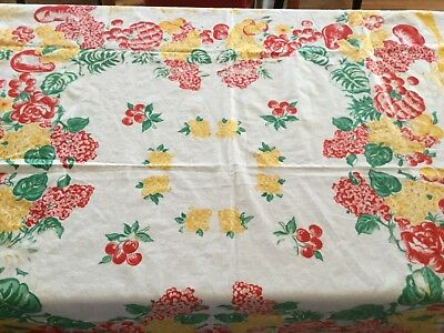 Vintage tablecloth, Fruit & Flowers in Bright yellows, Reds & Greens On White