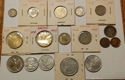 Chile 5, 10, 20 Centavos, 1, 5, 10 Pesos 17 Coins Various Years See Description