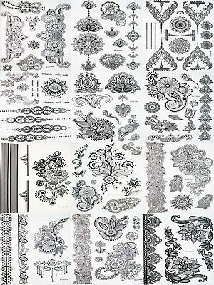Black Tattoo Henna Lace Body art hand arm Hair Stencil Water Transfer Temporary