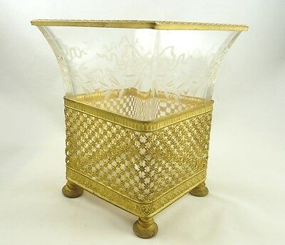 Antique French Vase Planter Gilt Ormolu & Crystal Etched With Bows & Swags