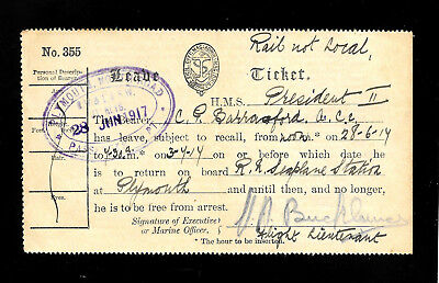 """Old NAVY Ship -Ticket Plymouth Great Britain 1917 """"HMS"""". President II"""""""