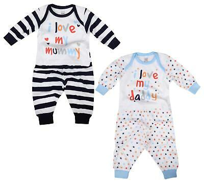 Baby Boys Pyjama Sets I Love My Mummy I Love My Daddy 0-9M Cotton Long Pj Set