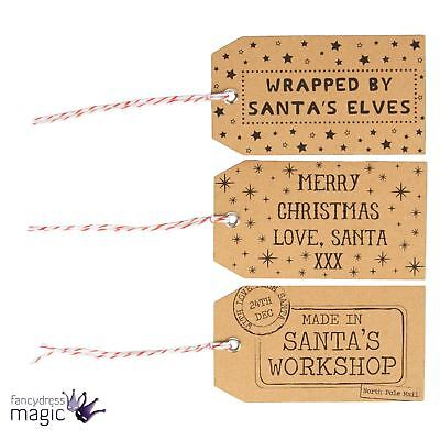 Sass & Belle Set Of 15 Santa's Workshop Festive Brown Retro Christmas Gift Tags