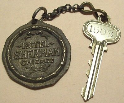 1950s~HOTEL SHERMAN~ROOM 1508~ADVERTISING KEY FOB~15TH FLOOR SUITE~CHICAGO, ILL.