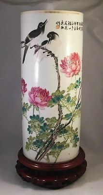 Antique 19thC Chinese Famille Rose Hat Stand Vase w/ Stand Birds & Calligraphy