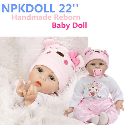 """22"""" Handmade Lifelike Baby Girl Doll Silicone Realistic Reborn Doll + Clothes"""