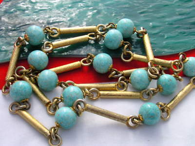 Vintage  Gold Tone Beads Turquoise Color Glass Beads Necklace